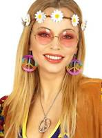 Deguisement hippie femme set lunettes années 60 70 bandeau boucles d'oreilles