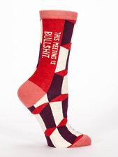 Women's Crew socks, This Meeting is Bullshit, Blue Q Cotton Funny Novelty Gifts
