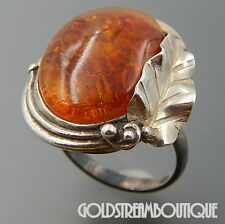 POLAND STERLING SILVER HONEY AMBER LEAF OVAL STATEMENT RING SIZE 8.25