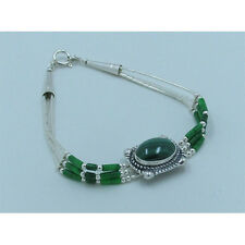 3 Strand .925 Liquid Sterling Silver Natural Green Malachite Bracelet