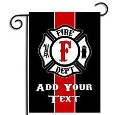 Personalize Your Thin Red Maltese Cross Firefighters Nylon Garden Flag