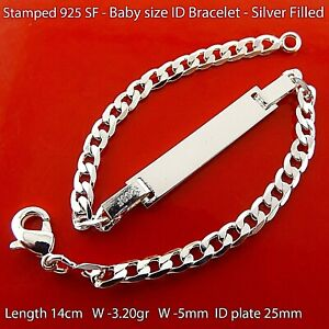 ID Bracelet 925 Sterling Silver Filled initial Identification Baby Kids Bangle