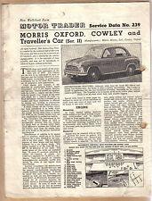 Morris Oxford Cowley & Traveller Series II Motor Trader Service Data No 239 1955