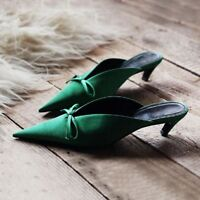 Women's Bows Satin Kitten Heels Mules Pointed Toe Slipper Sandals Casual Shoes