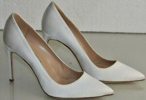 NEW Manolo Blahnik BB 105 Satin White Pumps Heels Pointed toe WEDDING Shoes 41