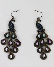 Rhinestone Peacock Earrings Bronze Blue Purple