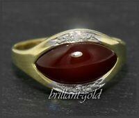 Karneol & Diamant 585 Gold Damen Ring, Bandring