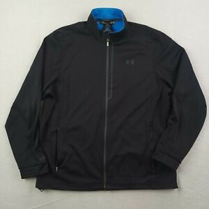 Under Armour Golf Jacket Mens Large Loose Heatgear Black Gray Full Zip Softshell