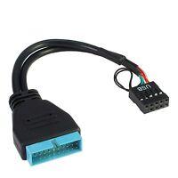USB Adapter Front USB 3.0 an USB 2.0 Mainboard intern extern Pinheader 19polig