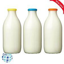 Glass Milk Bottles Tops Fits UK Milk Bottle 1 Pint Silicone Lids Reusable 3 Pack