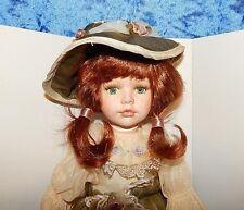 """Geppeddo """"Erica""""  Red Headed with Green Eyes Porcelain Doll with Teddy Bear NIB"""