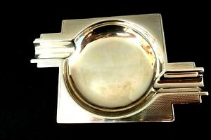 SOLID SILVER ART-DECO--ASH TRAY--LENGTH 4 ins--B'HAM 1938--MAKERS T & S
