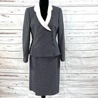 Le Suit Women's 2PC Skirt Suit Blazer Buttons Blue/White Polka Dots Size 8