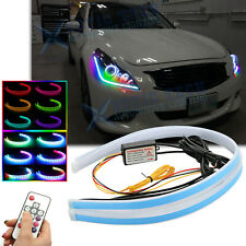 For Infiniti G37 G35 Q50 RGB Remote LED Daytime Running Light DRL Headlight 24""