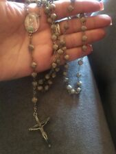 Vintage Sterling Silver Catamore Rosary Beads Antique