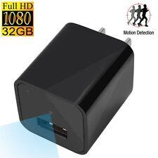 1080P HD 32GB Mini AC adapter US EU plug usb Pen Charger Spy Motion Detection DV