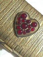 Gold Tone Metal Weave VTG Cigarette Case Compact Hinge Lid Heart Red Stones Deco