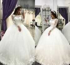 White/Ivory Lace Bridal Ball Gowns Wedding Dresses Long Sleeves Plus Size 2-26W