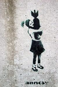 "Banksy Bomb Hugging Girl Street Art Graffiti Large 12x18"" Real Canvas Print New"