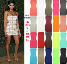 Womens Boobtube Bandeau Party Bodycon Pencil Dress Girls Ladies Mini Dress