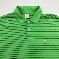 Brooks Brothers Polo Shirt Men's XL Short Sleeve Green Striped Cotton Casual