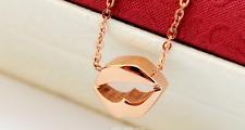 "Super Fashion Amazing ""Mouth"" Rose Gold GP Pendant Necklace"