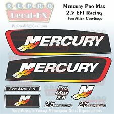 Mercury Pro Max 2.5 EFI Racing Repro Decals for Alien Cowl 8Pc Marine Vinyl Set