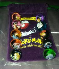 Mixed Lot Of 10 Collectible Vintage  Pokemon Glass Shooter Marbles Bag #101