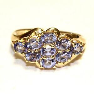 10k yellow gold Natural oval tanzanite gemstone cluster ring 3.3g estate 7.5