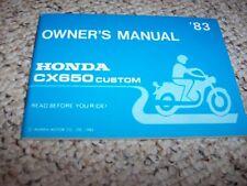 1983 Honda CX650 CUSTOM Motorcycle Factory User Guide Owner Manual ORIGINAL
