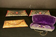 Vintage Antique Old Eyeglass Cases (4) and 1 Pair of Spectacles c1
