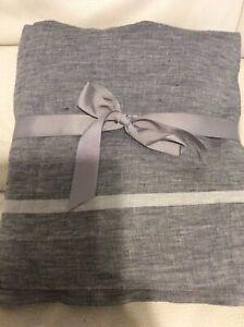 West Elm  Belgian Flax Linen Full Flat Sheet Border Stripe Slate Gray NWOT