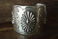 Navajo Hand Stamped Sterling Silver Repousse Cuff Bracelet by Johnny Bitsoi