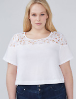 Lane Bryant Womans Lace Yoke Crop Top Plus 2X 3X 4X 8/20 22/24 26/28 Top Stretch