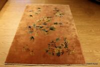 ART DECO 4'x6' Antique Chinese hand-knotted Garden design pictorial Peach #PM75