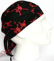 Mens Fitted Bandana Zandana Headscarf Wrap Easy Tie Black Red Skull Crossbones
