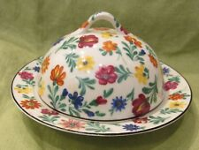RARE Vintage Hand Painted German CHINTZ Dome Covered Cheese Plate Butter Dish