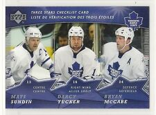 2007-08 Upper Deck McDonald's - #2 - Three Stars Checklist - Toronto Maple Leafs