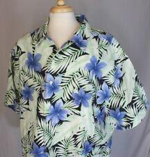 CARIBBEAN Light Green Floral LINEN BLEND HAWAIIAN SHIRT Button-Up Camp 4XB EUC