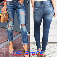 Fashion Women's Ripped Frayed Trousers Ankle Length Pencil Pants Casual Jeans US