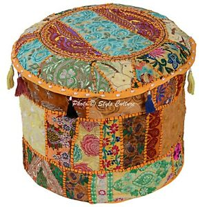 Boho Pouffe Cover Ottoman Yellow Furniture Patchwork Embroidered Round 22 Inch