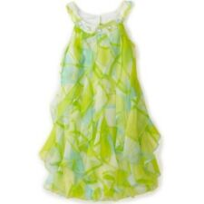 Biscotti Girls Party Dress Green Blue Size 6 Sleeveless Ruffle Jewel Neckline