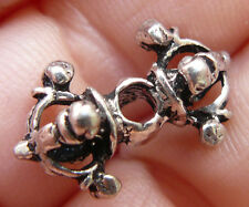 Sterling Silver 2 Bali Style Beads 9x16mm with Artisan Crafting 925 Sterling.