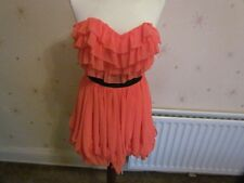 Lipsy Orange Corset Dress Size 8