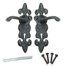 BLACK ANTIQUE FLEUR-DE-LYS EXTERNAL HANDLE SET Iron Lock Door Lever Key Hole