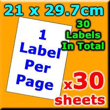 21x29.7cm 1 Label Per Pg A4 Office Mailing Address Label Laser Inkjet x30 Labels