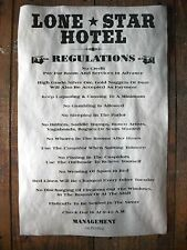 """(678) OLD WEST HOTEL LONE STAR REGULATIONS TEXAS NOVELTY WESTERN POSTER 11""""x17"""""""