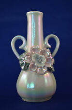 "Bud Vase White with Pink Flower - Gold Accent - Lusterwar​​E - 4"" #X"