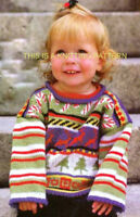 Candy Cane -  Reindeer & Xmas Tree Childrens Jumper to Knit  2 - 6 years