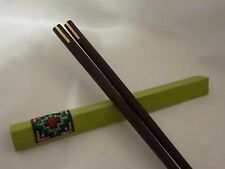 Chopstick Wooden Pair In Silk Sheath with Needlepoint Design